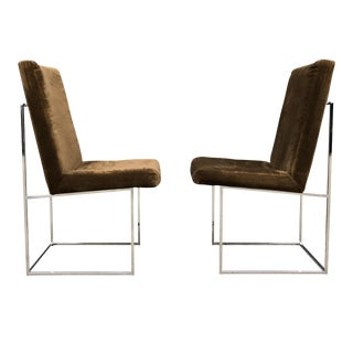 Milo Baughman for Thayer Coggin Chrome Dining Chairs - A Pair