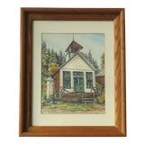 """Image of Antique """"St Elmo Schoolhouse"""" Colorado Mountain Town Painting by Jean Doyle Kelley For Sale"""