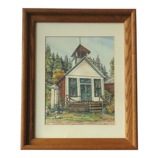 """Antique """"St Elmo Schoolhouse"""" Colorado Mountain Town Painting by Jean Doyle Kelley For Sale"""