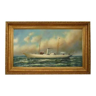 American Victorian style (modern) oil on canvas depicting a white steamship with American flag in carved gilt frame