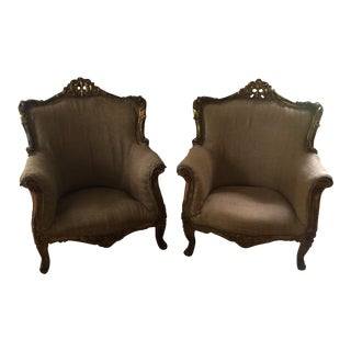 Gilded Rococo Antique Chairs - A Pair For Sale