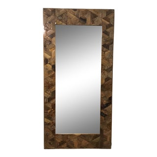 Interlude Home Lacquered Wood Patchwork Finn Floor Mirror For Sale
