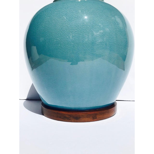 Blue Pair of Vintage Ralph Lauren Chinese Pottery Lamps in Robin's Egg Blue For Sale - Image 8 of 13