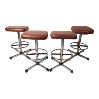 Set of 4 Vintage Modern Swivel Stools by Samsonite For Sale