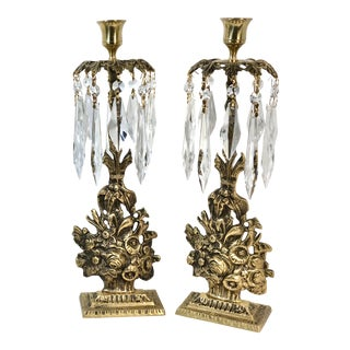 Vintage Victorian Brass Girondoles Candle Holders With Crystals - a Pair For Sale