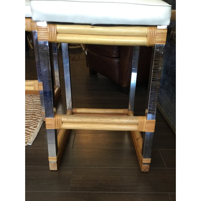 Mid 20th Century Mid-Century Modern Bamboo Chrome and Leather Counter Stools - a Pair For Sale - Image 5 of 13