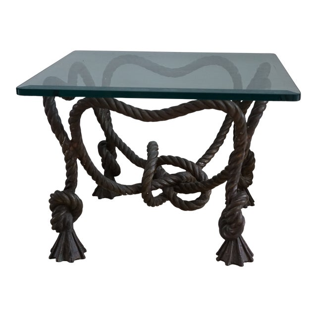 Vintage Rope Side Table For Sale