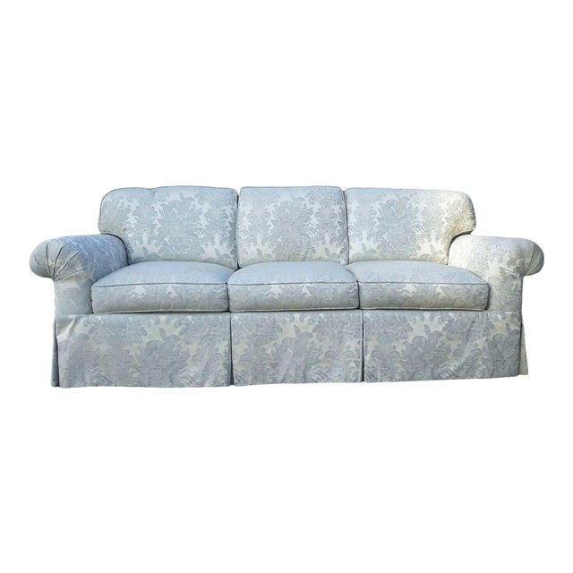 Formal Custom Built Blue on Ivory Silky Damask Upholstered Sofa For Sale
