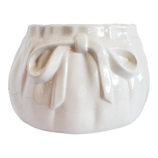 """Vintage Small Porcelain Cream Cinched Bag """"Signed Km Palm Beach"""" For Sale"""