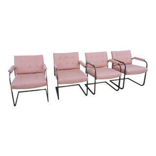 Mid Century Modern Set of 4 Tufted Dining Chairs For Sale