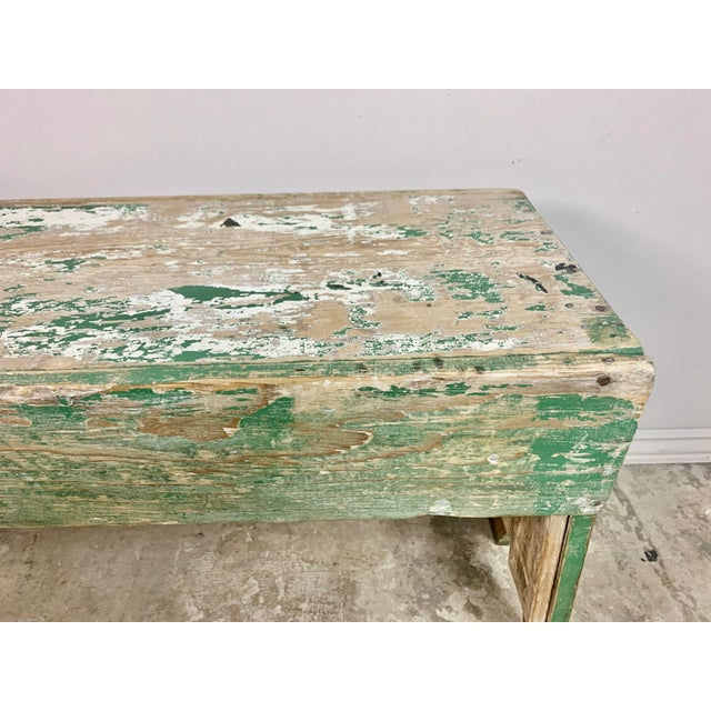 Antique White 19th C. Swedish Painted Work Style Bench For Sale - Image 8 of 11