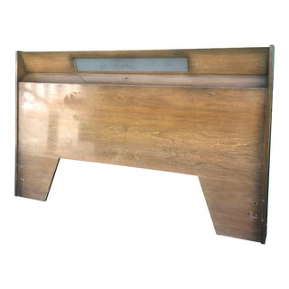 Mid Century Modern Full Size Headboard With Sunburst Finish For Sale