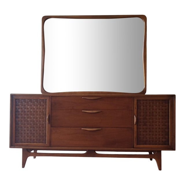 1960s Lane Perception Nine Drawer Dresser With Mirror For Sale