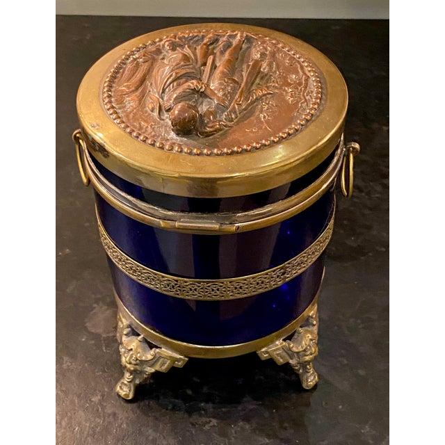 Antique Royal Blue Glass Trinket Box For Sale - Image 9 of 11