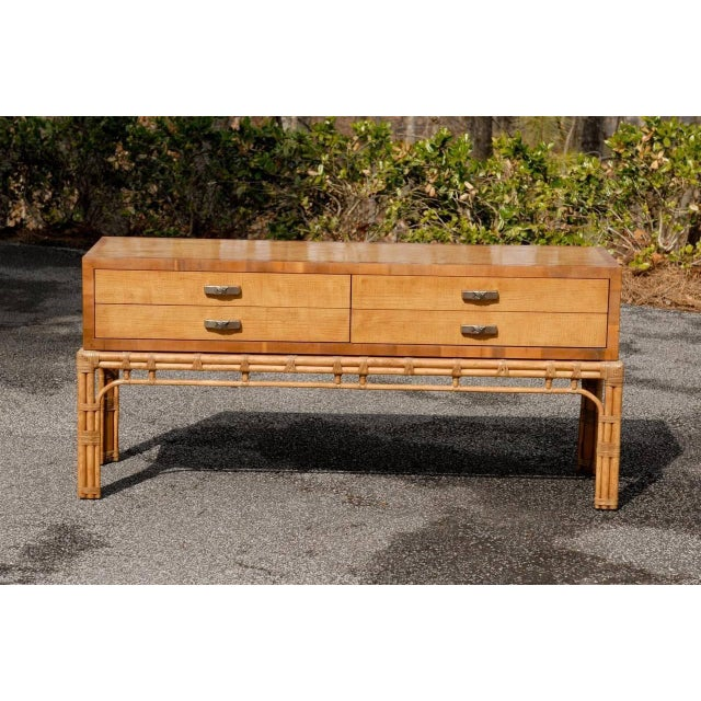 Asian Stunning Vintage Henredon Console on Rattan Base For Sale - Image 3 of 11