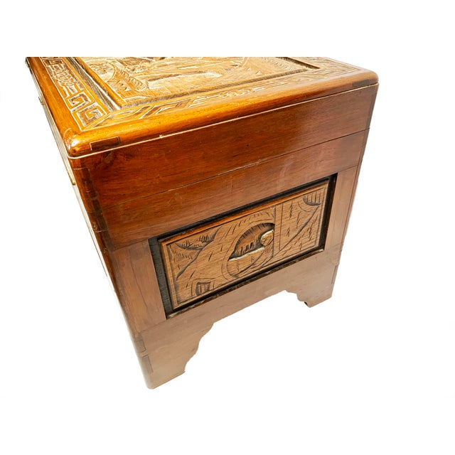 Late 19th Century Antique Chinese Hand Carved Camphor Chest / Trunk For Sale In Los Angeles - Image 6 of 10