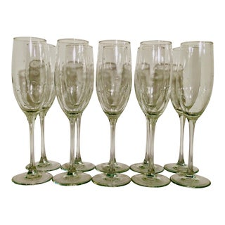 Vintage Blown Seed Glass Champagne Flutes - Set of 10 For Sale