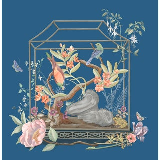 """Open House"" Bird Terrarium Chinoiserie Painting by Allison Cosmos For Sale"