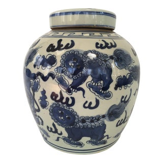 Blue and White Chinese Foo Dog Ginger Jar For Sale