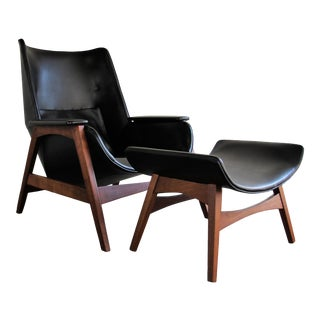 Foster McDavid Mid-Century Modern Lounge Chair & Ottoman - A Pair