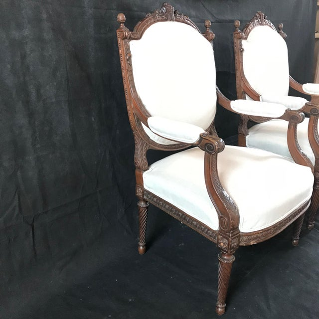 White French Carved Walnut Armchairs - a Pair For Sale - Image 8 of 11
