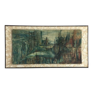 Vintage Abstract Landscape With Figure Painting For Sale