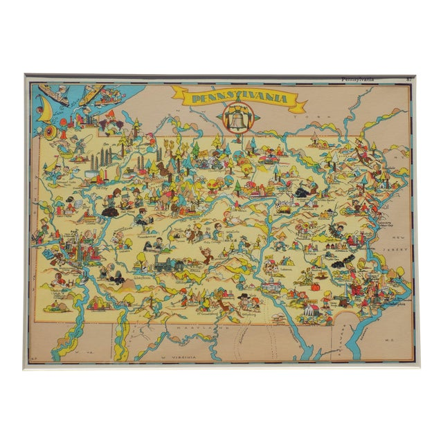 Vintage Map of Pennsylvania, 1935 For Sale