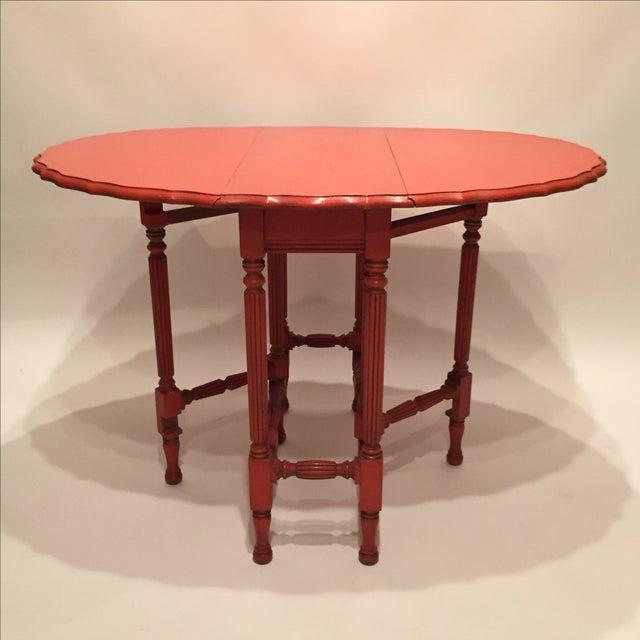 Vintage Orange Drop Leaf Table - Image 4 of 11