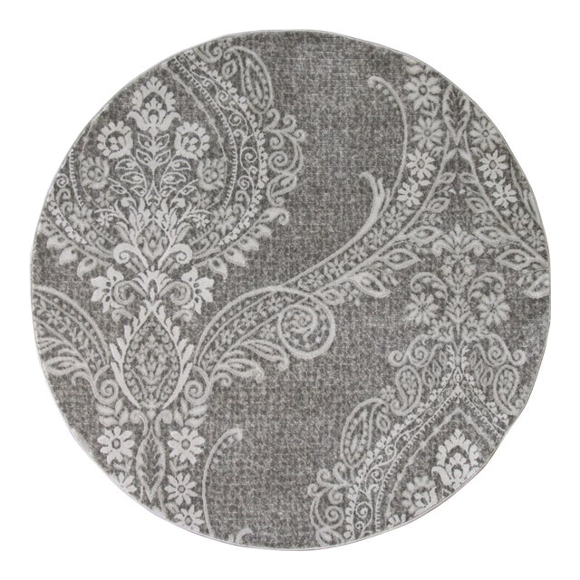 Gray Damask Transitional Rug - 5' Round - Image 1 of 3