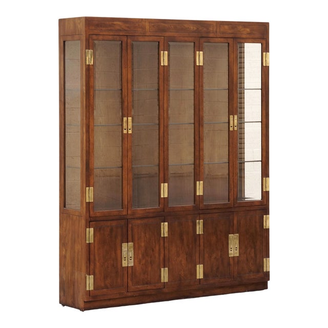 """1970s """"Campaign Series"""" Modern China Cabinet by Henredon For Sale"""