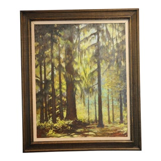 "1980s ""Rain Forest"" Pacific Northwest Signed Painting For Sale"
