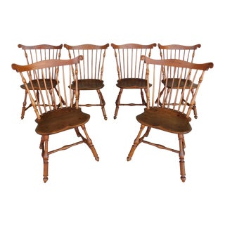 Walter Steely Vintage Philadelphia Style Windsor Fan Back Chairs - Set of 6 For Sale