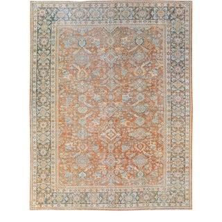 Antique Mahal Handmade Floral Pattern Designed Orange Wool Rug For Sale