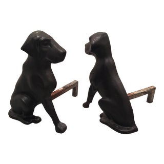 Vintage Liberty Foundry Co. Cast Iron Labrador Dog Andirons - a Pair For Sale