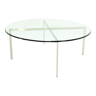 Mid Century Modern Chrome X Base Thick Round Glass Top Coffee Table For Sale