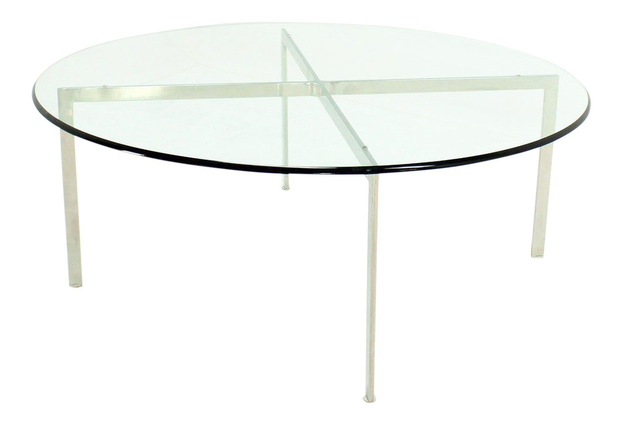 Mid Century Modern Chrome X Base Thick Round Glass Top Coffee Table
