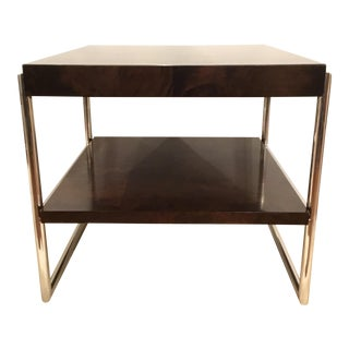 Contemporary Mitchell Gold Wood and Chrome Side Table For Sale
