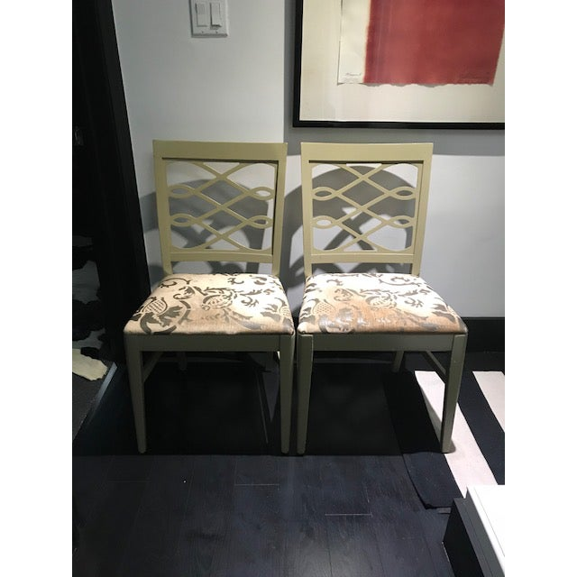 Mid-Century Stenciled Velvet Dining Chairs - a Pair For Sale - Image 11 of 13