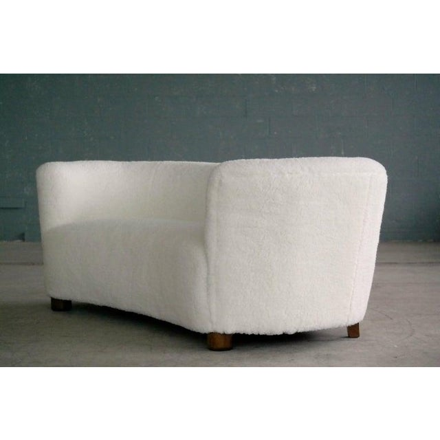 Metal Banana Shape Sofa in Lambswool Attributed to Viggo Boesen For Sale - Image 7 of 10