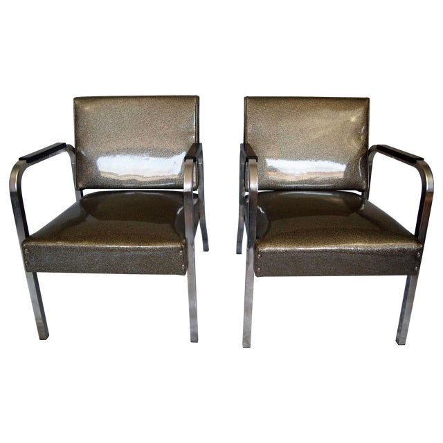 Chrome Chairs With Vinyl Seats - Pair For Sale