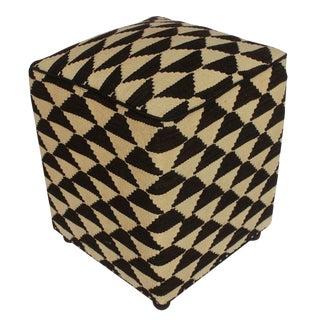Arshs Deeann Ivory/Black Kilim Upholstered Handmade Ottoman For Sale