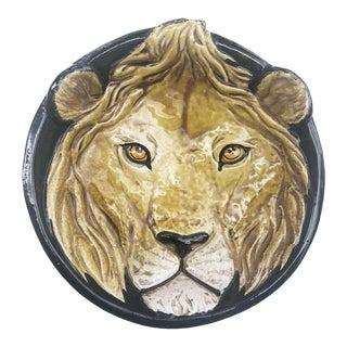 Italian Ceramic Lion Hanging Dish For Sale