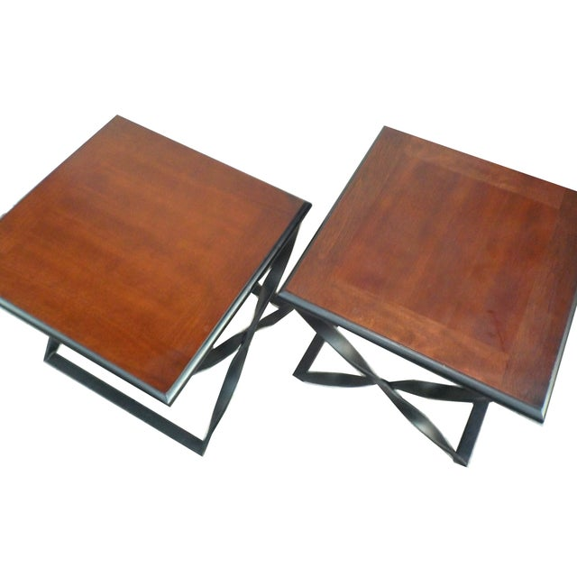 Rustic Wood & Wrought Iron Side Tables - A Pair - Image 2 of 5