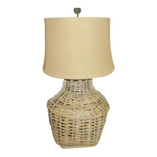 Vintage Wicker Woven Fiber Basket Lamp - Modern Mid Century For Sale