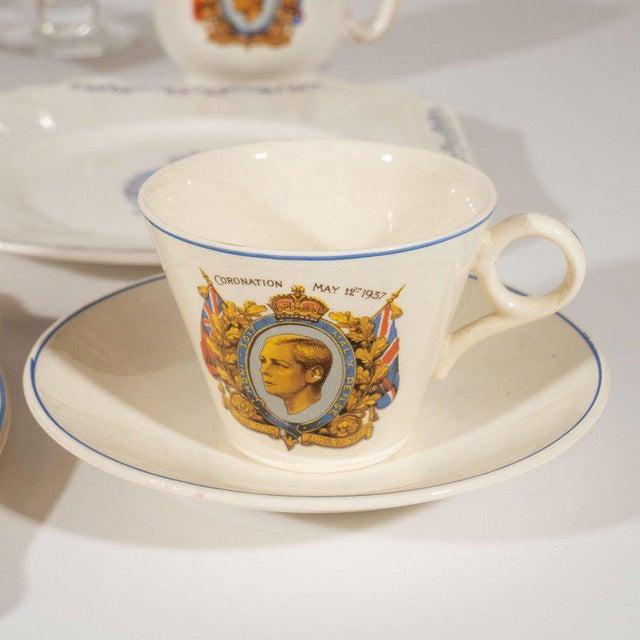 White English Art Deco Royal Commemorative Porcelain Coronation Set For Sale - Image 8 of 13