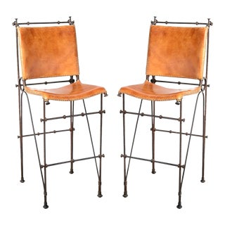 Vintage Leather & Wrought Iron Bar Stool, Arte De Mexico