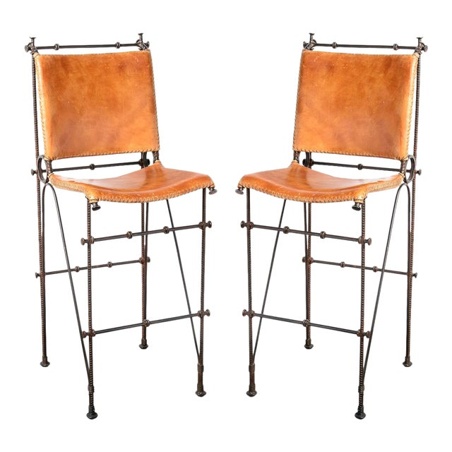 Vintage Leather & Wrought Iron Bar Stool, Arte De Mexico - Image 1 of 12