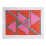 Image of David Leverett Untitled Serigraph Artwork in Pink and Red For Sale