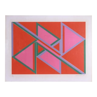 David Leverett Untitled Serigraph Artwork in Pink and Red For Sale