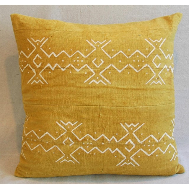 Handwoven Gold & Cream Tribal Feather & Down Pillow - Image 3 of 6